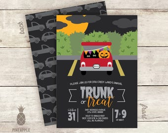 Trunk or Treat Halloween Party Invitations