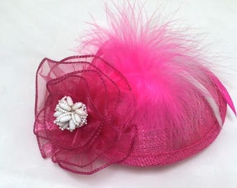 Pink Fascinator, Pink Cocktail Hat, Tea Party Hat, Pink Feather Fascinator