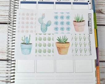 Full Box planner stickers, succulents, cacti, watercolor art, watercolor full box art stickers, cacti, cactus, summer planner