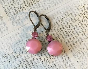 Vintage Rhinestone Earrings | Shades of Pink