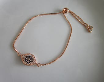 Rose Pink Gold tone bejeweled evil eye charm chain bracelet - rose/pink gold chain bracelet blue evil eye - evil eye charm rose/pink gold
