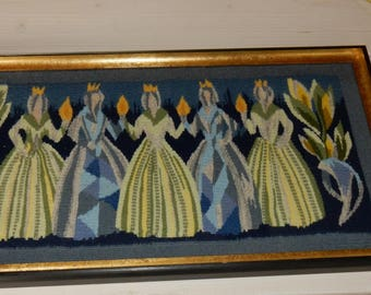 Swedish hand woven wall hanging /flamsk / flemish / rare / 1960s / wool / princesses / Sweden / antique