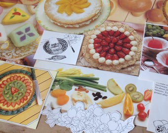 Desserts and fruits magazine pages // drinks food kitchen catering poster colour recipe paper pack vintage illustrations // UK seller