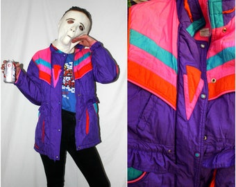 1990s Vintage Bright Neon Ski Parka. Retro 80s or 90s Winter Jacket. Womens Neon Pink Purple And Blue Geometric Retro Long Coat.
