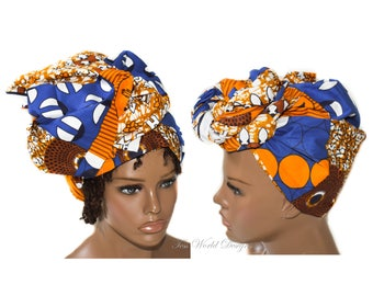 Head wrap, faux Patchwork fabric / African Hair Wraps/ Headwrap/ African Head scarf/ African head wraps, brown / HT240