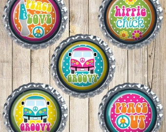 Hippie magnets - Bottle cap magnets - Earth magnets - Groovy - Peace love - Peace out - Hippie chick - Funky magnets - Happy magnets