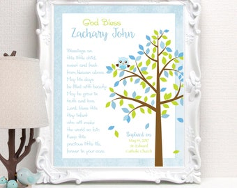 BAPTISM Gift - Personalized Christening or Baby Dedication Gift - Gift for Godson/Goddaughter - Nursery Art - 8x10 Print -other colors