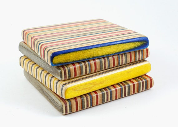 Set of 4 Recycled Skateboard Square Drink Coasters