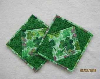 Quilted Pot Holders Hot Pads - St. Patrick's Day - Heat Resistant - Shamrocks