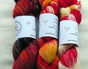 Handdyed SockYarn-KIT 3x100g 75 Wool, 25 Polyamid 3x3.5 oz. #29