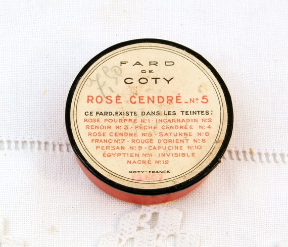 Vintage French 1940s Rouge / Blusher Make Up Fard de Coty Rosé Cendré Number 5 Round Red Box with Powder Puff, Cosmetic Blush From France