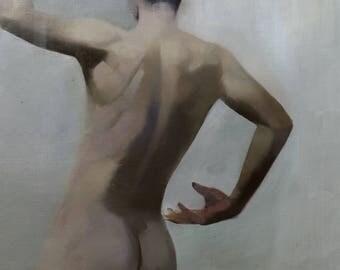 Male nude, original oil painting, Bedroom art Naked Man Back Torso Painting, Nude Art Man