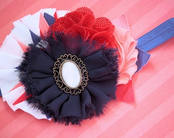 Cake Pop - Headband, Baby Headband, Photography Prop, Couture Headband, Hair Clip, Coral Navy Red, Shabby Chic Headband, Burlap