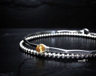 Genuine Citrine Bracelet / November Birthstone Gift for Mom, Wife, Daughter / Real Citrine Jewelry / Delicate Bangle Gift for Girlfriend
