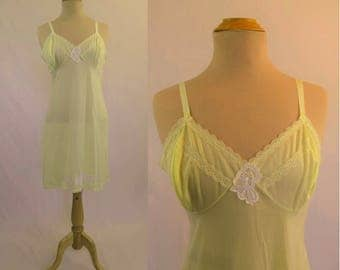 1960s Vintage - Vintage Lingerie - Vintage Slip - Yellow With Appliques - Gifts For Her