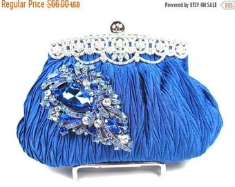 SALE SALE Royal Blue Crystal Rhinestone Bridal Clutch, Wedding Purse