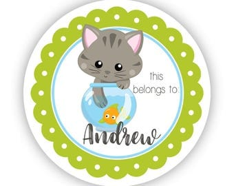 Cat Personalized Label Stickers - Green Kitten Stickers, Lime Cat Fish Bowl Name Tag, Kitten Label Stickers - Back to School Name Labels