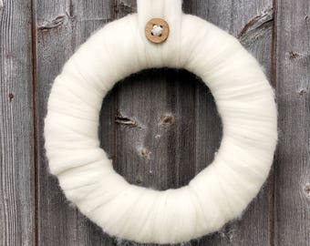 Cream Merino Wool Wreath - Christmas decorations - Hanging Decoration - Interiors - Scandinavian - Hygge - Winter Decorations - Door Wreath