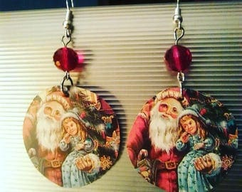 Tin Can/Up cycle Earrings/Santa/Christmas