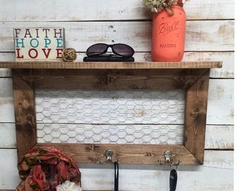 ON SALE Rustic Home Decor, entry way shelves, entryway shelf, coat rack, coat rack with shelf, wire shelves, wire shelf, shelf with hooks