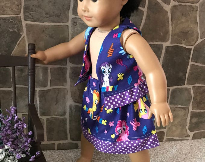 "End of Summer Sale!!! Purple Print Vest,  Skirt made to fit 18"" dolls FREE SHIPPING"