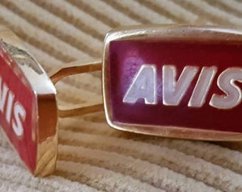 Vintage cuff links- Avis red and gold