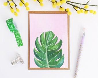 Monstera Leaf Postcard - Monstera Illustration - Monstera Art Print - Plant Lady Print - Swiss Cheese Plant Print - A6 Art Print - Gouache