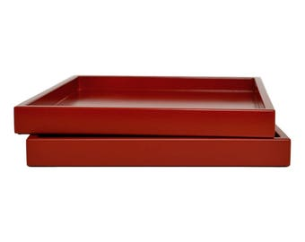 Deep Red Tray, Decorative Tray for Coffee Table, Lacquer Wood Serving Tray, Coffee Table Tray, Ottoman Tray, Catchall, Entryway Organizer