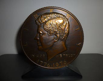 Bicentennial Half Dollar Coin Shaped Bank with Key - Bronze Colored Metal Form for function or display - child or adult