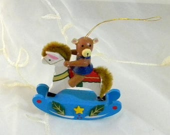 Summer Sale Vintage 1980s Rocking Horse Teddy Bear Christmas Ornament