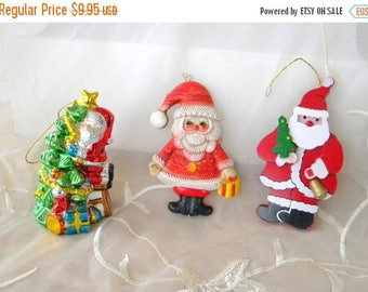 Summer Sale Vintage Santa Ornaments, Vintage Collection, Instant Collection, Painted Wooden Santa, Metallic Ceramic Santa and Tree, Rubber S