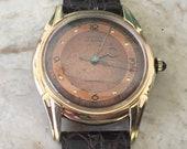Copper Dial Swiss Watch, Men Vintage VENUS Watch, Art Deco Design, Blue Cabochon Crown, High Grade 17 Jewels, Manual Wind, Runs Great