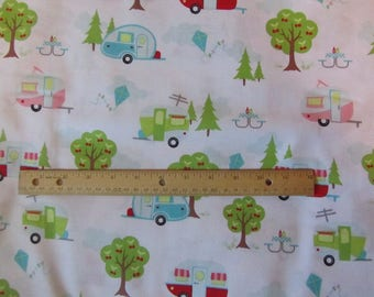 White Riley Blake Glamper-Licious Campers/Camping Toss Cotton Fabric by Yard