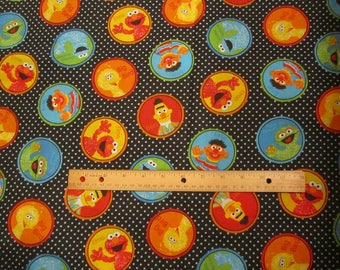 Black Sessame Street Character Circle Cotton Fabric by the Yard