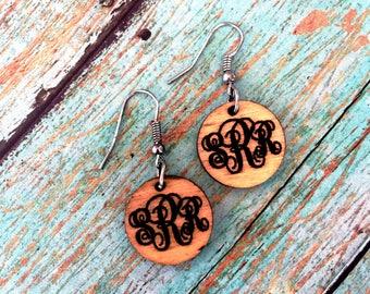 Wooden  Monogrammed Earrings **Ships in 3-5 Days**