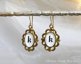 Letter K Earrings Hand Stamped Vintage Letterpress Gothic Font in Vintage Brass Settings