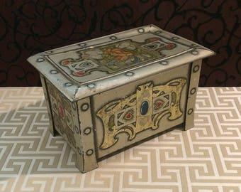Silver Trunk Tin Box, Treasure Chest, DENTED LID, Biscuit Tin, Antique Tin Box, Art Nouveau, Jewels Hearts, 1905 Edwardian Vintage