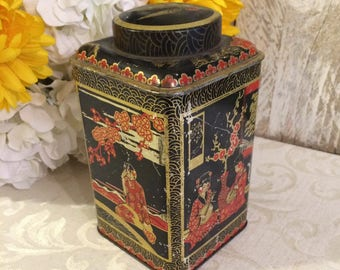 c 1930 Vintage Tin, Asian Art, Black and Red, Vintage Tea Tin, Decorative Tin, BW & M, Barringer Wallis and Manners, LID STUCK