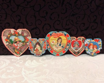 5 Beautiful Heart Shaped Colorful Antique Valentines Day Cards, c 1920s All with Little Girls Vintage Decoration, one Whitney Made