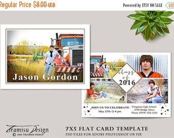 ON SALE Senior Graduation Card ,Photoshop Template,Photography Template , Photo Card Template,sku gr16-3
