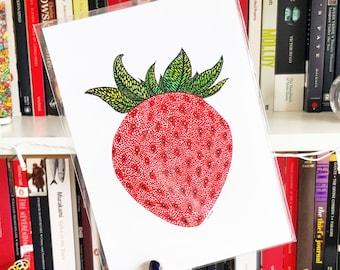 Strawberry Print - Giclee Print, Fruit Print, A5 Print, Nursery Decor, Strawberry Poster