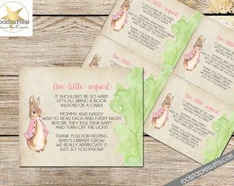 Bunny Rabbit Girl Bring A Book Baby Shower Insert, INSTANT DOWNLOAD, Digital File, Printable _1249pink