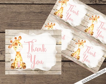 Giraffe Girl Thank You Card, INSTANT DOWNLOAD, Digital File, Printable _1306