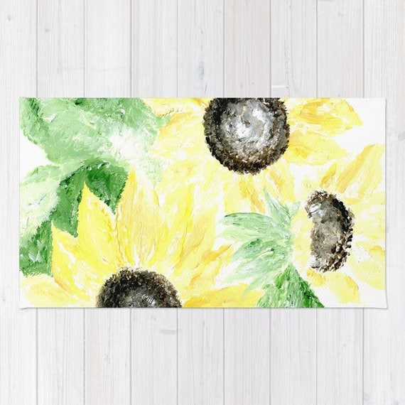 Sunflower area rug yellow area rug flower area rug yellow like this item mightylinksfo
