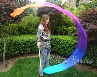 1 pc 2.5m*0.3m turquoise-blue-purple-pink-orange silk streamer, for dance or play, real light silk, intercangeable sticks