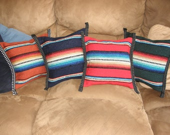Set of Pillows from Mexican Serape Cloth - 4 pillows, Cinnamon, Midnight Blue, Red, Dark Moss - Or order individually