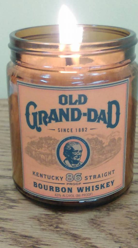 KENTUCKY BOURBON  - Vintage Label Organic Wood Wick Candle with black lid  9 oz - Free Shipping in USA