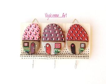 Key holder, Wall hooks, Wood Key holder, Wall decor, Wall hanging key holder, home decor.