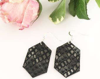 Leather earrings, hexagon earrings, black leather earrings, snakeskin leather, metallic silver, neutral colors, geometric earrings