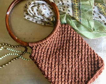 vintage brown macrame purse retro boho